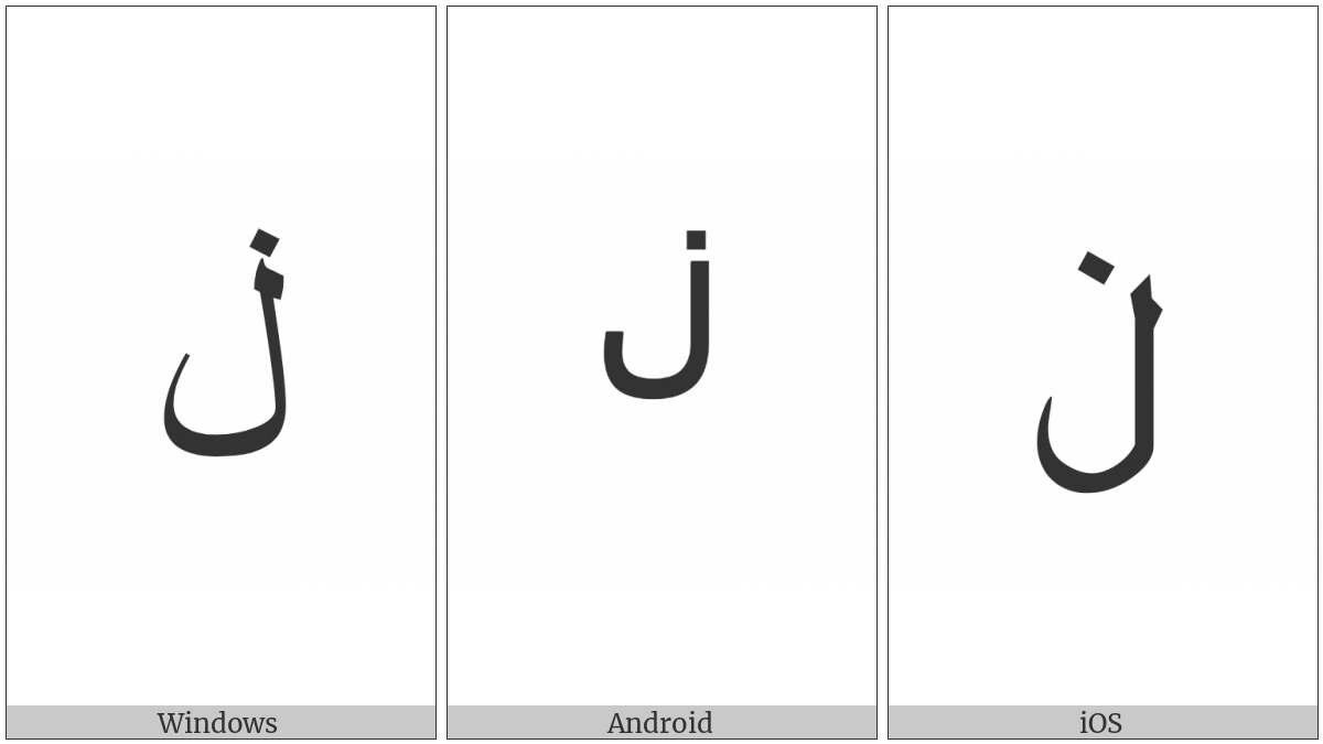 Arabic Letter Lam With Dot Above on various operating systems