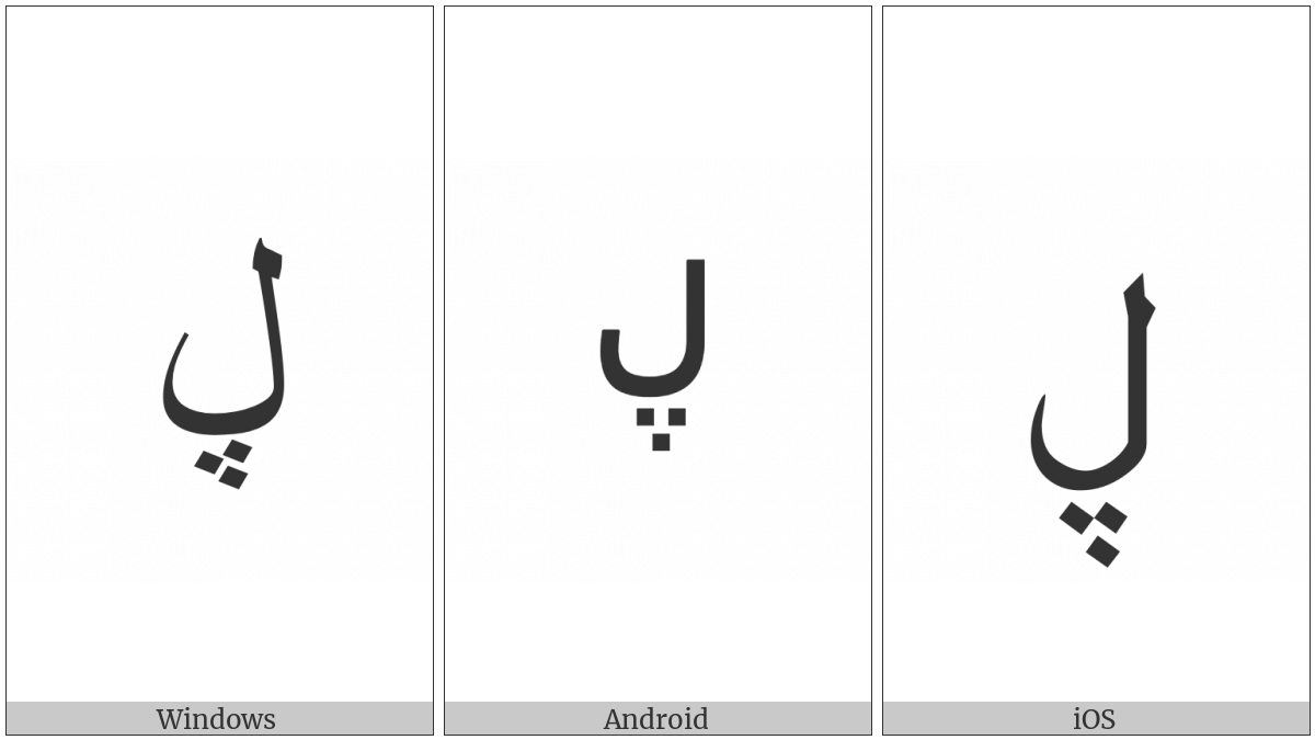 Arabic Letter Lam With Three Dots Below on various operating systems