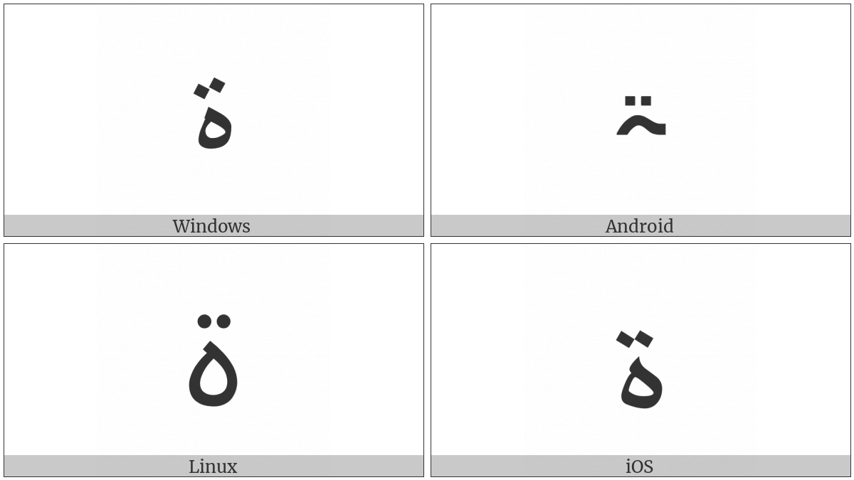 Arabic Letter Teh Marbuta Goal on various operating systems