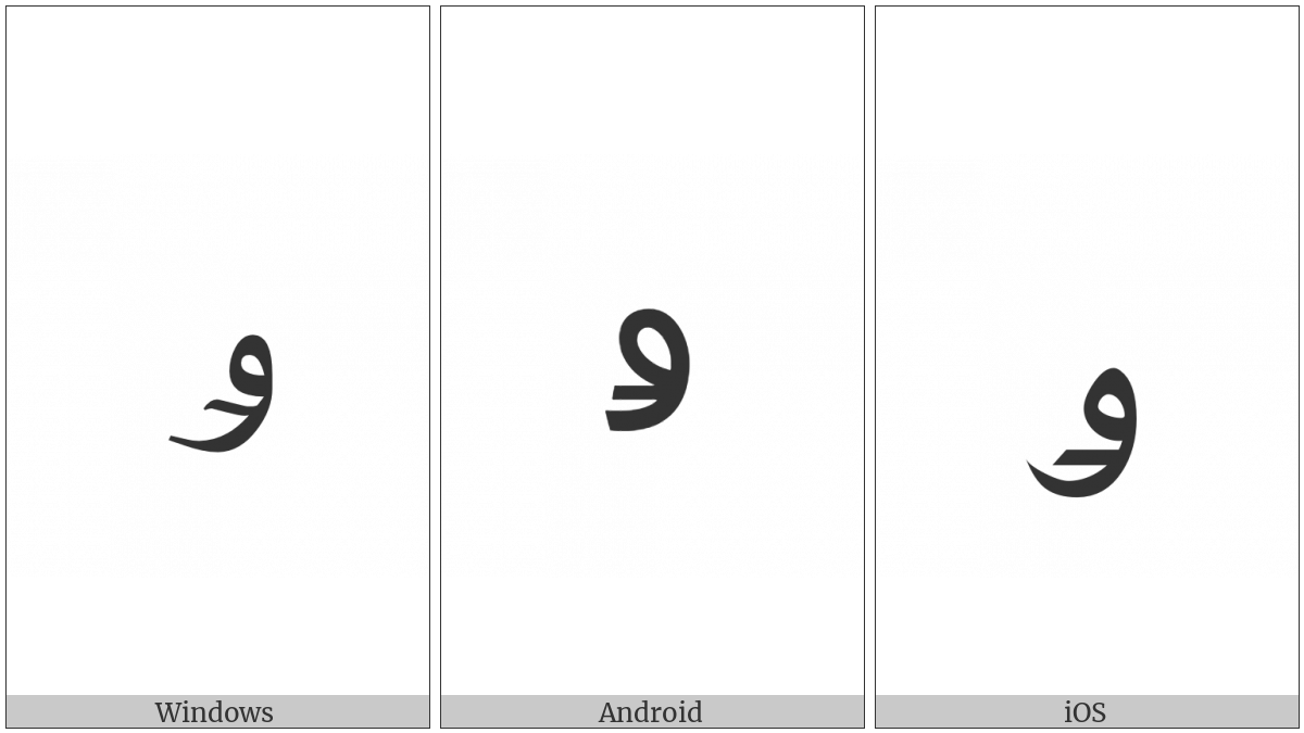Arabic Letter Kirghiz Oe on various operating systems