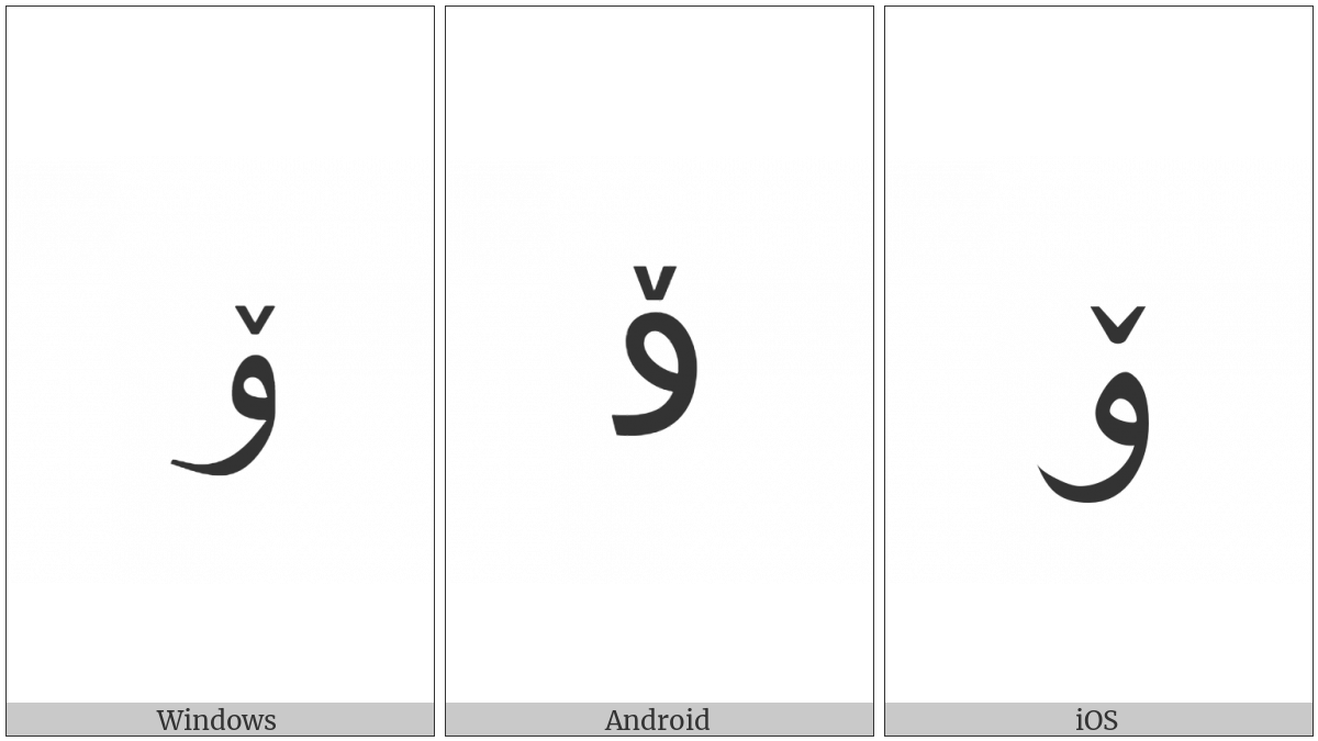 Arabic Letter Oe on various operating systems