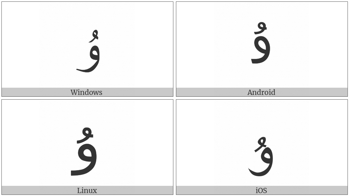 Arabic Letter U on various operating systems