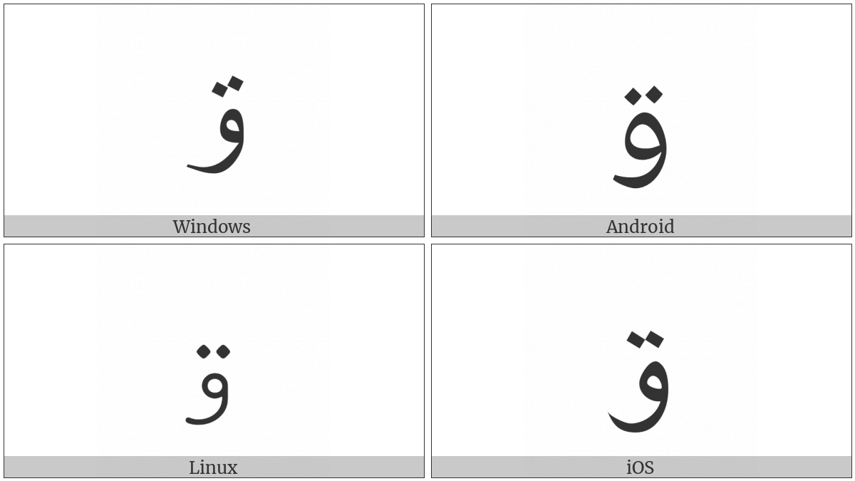 Arabic Letter Waw With Two Dots Above on various operating systems