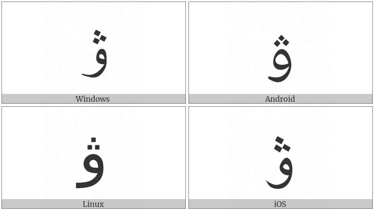 Arabic Letter Ve on various operating systems