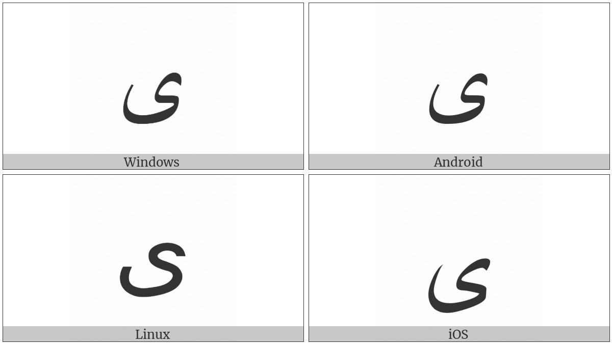 Arabic Letter Farsi Yeh on various operating systems