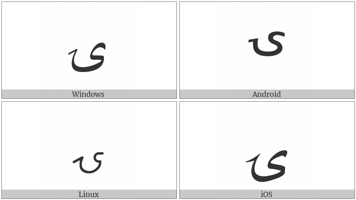 Arabic Letter Yeh With Tail on various operating systems