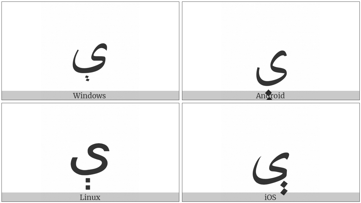 Arabic Letter E on various operating systems