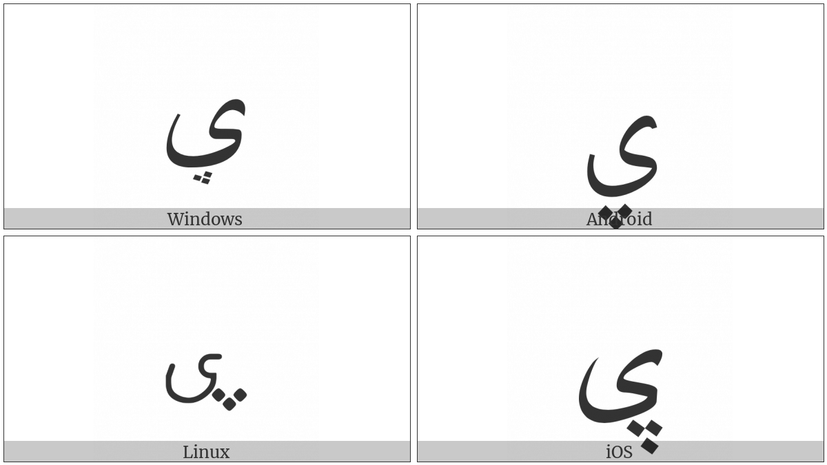 Arabic Letter Yeh With Three Dots Below on various operating systems