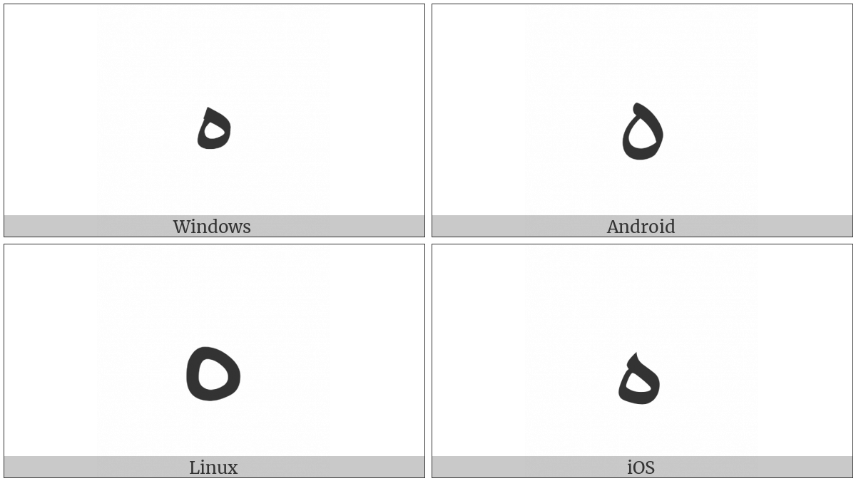 Arabic Letter Ae on various operating systems