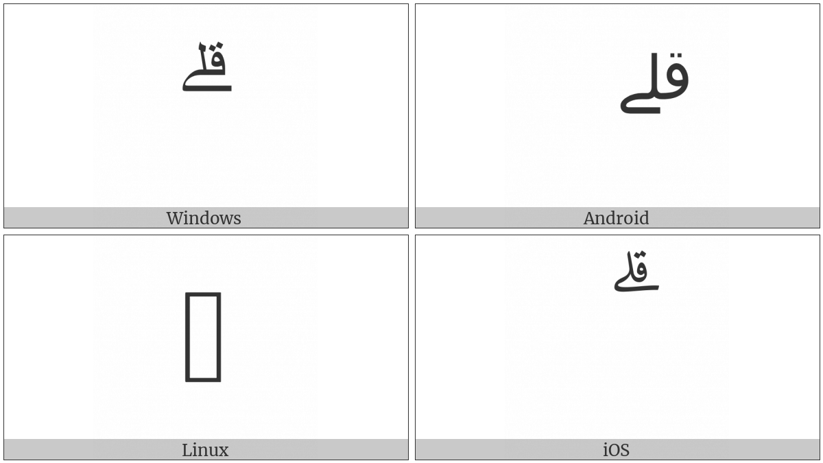 Arabic Small High Ligature Qaf With Lam With Alef Maksura on various operating systems