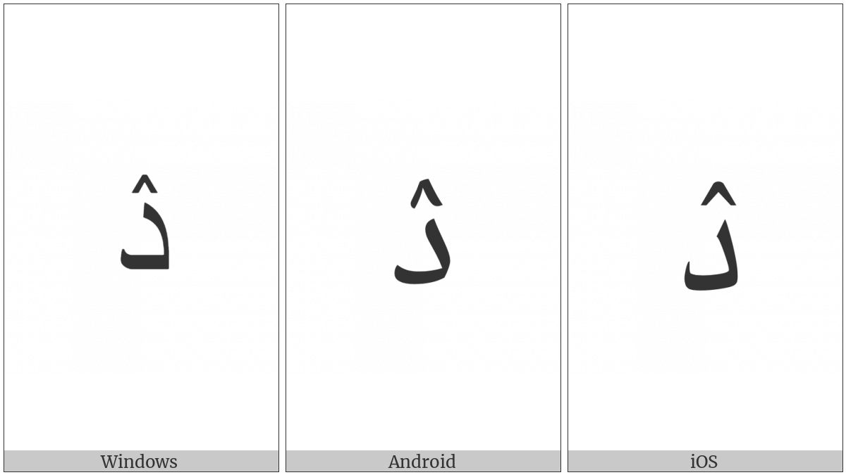 Arabic Letter Dal With Inverted V on various operating systems