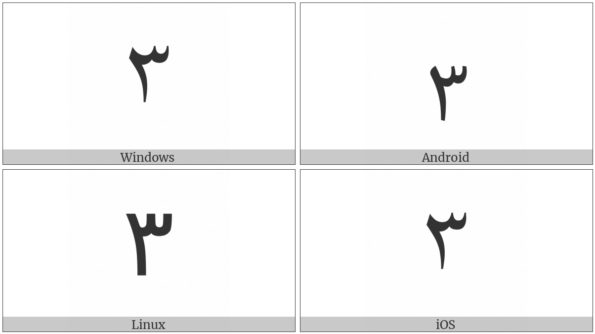 Extended Arabic-Indic Digit Three on various operating systems