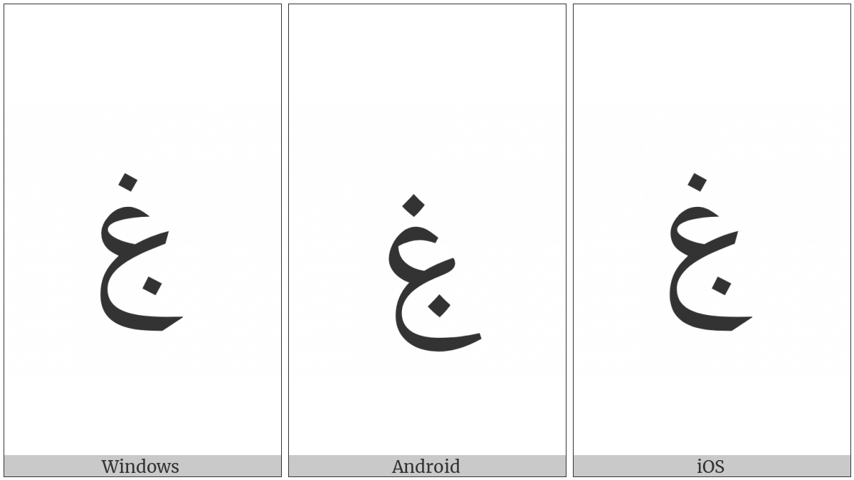 Arabic Letter Ghain With Dot Below on various operating systems