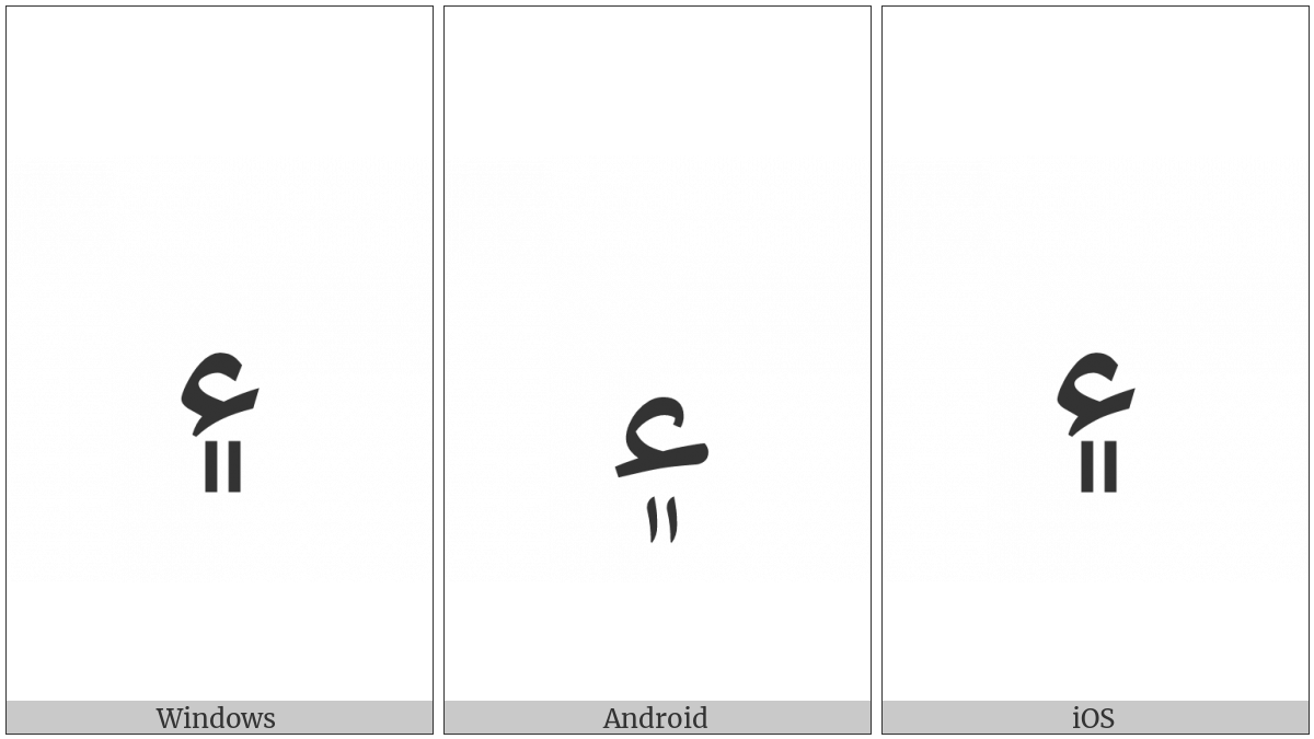 Arabic Sign Sindhi Ampersand on various operating systems