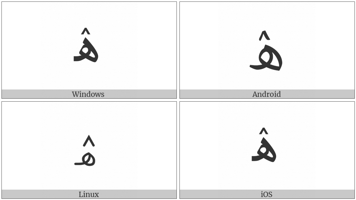 Arabic Letter Heh With Inverted V on various operating systems