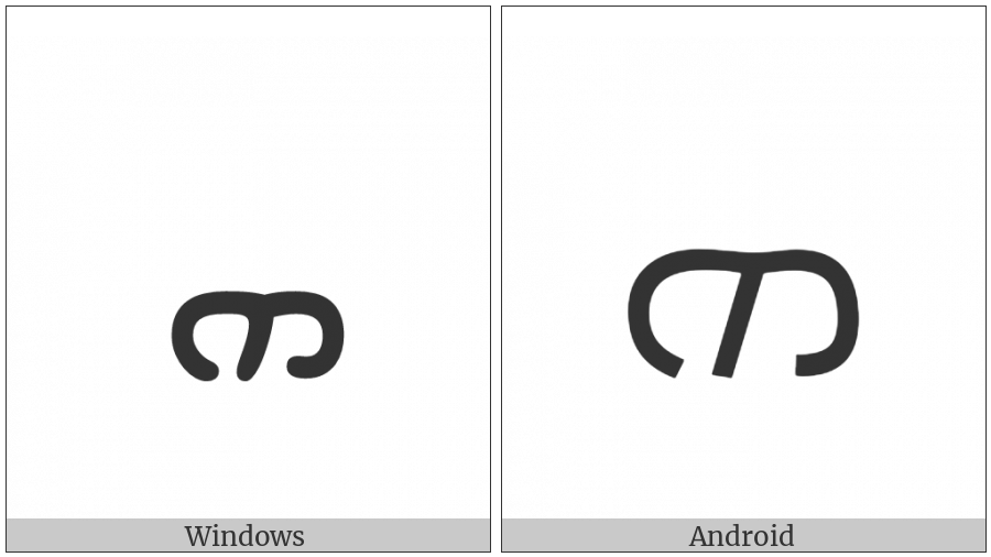 Syriac Letter He on various operating systems