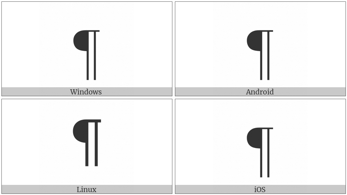 Pilcrow Sign on various operating systems