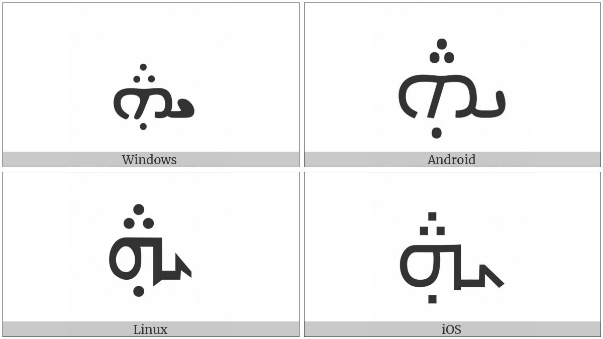 Syriac Letter Yudh He on various operating systems