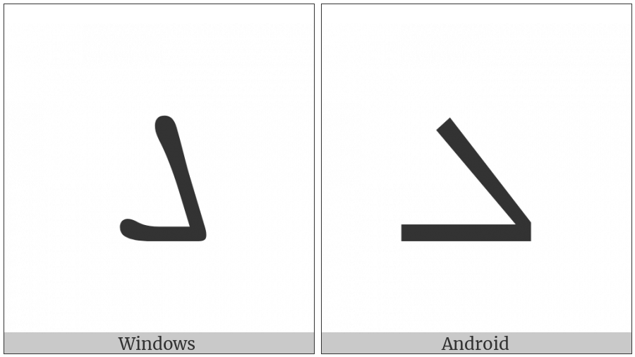 Syriac Letter Lamadh on various operating systems