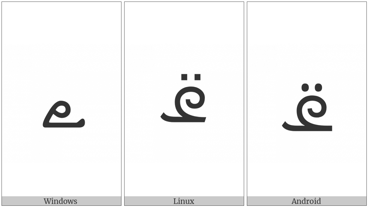 Syriac Letter Reversed Pe on various operating systems