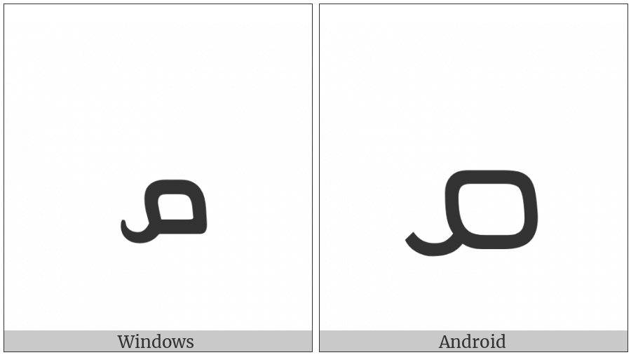 Syriac Letter Qaph on various operating systems