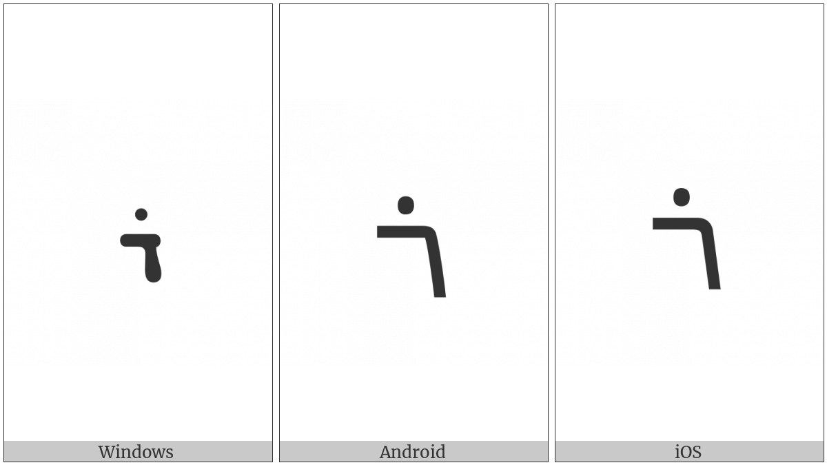 Syriac Letter Rish on various operating systems
