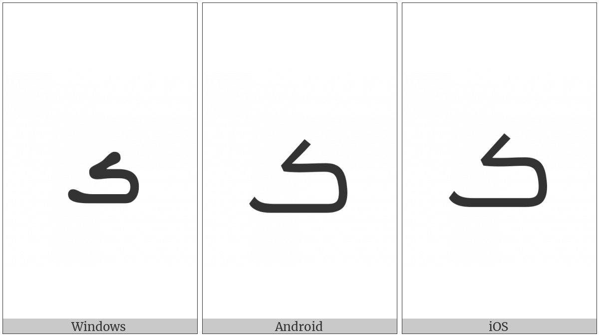 Syriac Letter Persian Bheth on various operating systems