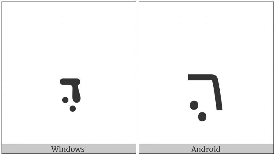 Syriac Letter Persian Dhalath on various operating systems