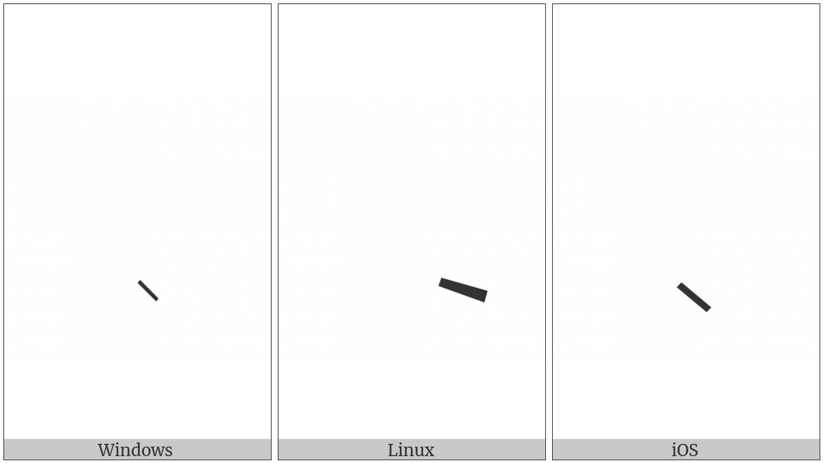Syriac Oblique Line Below on various operating systems