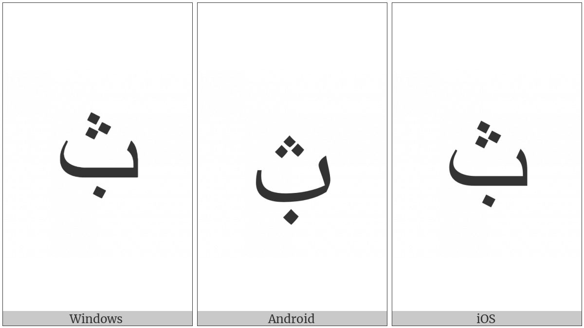 Arabic Letter Beh With Dot Below And Three Dots Above on various operating systems