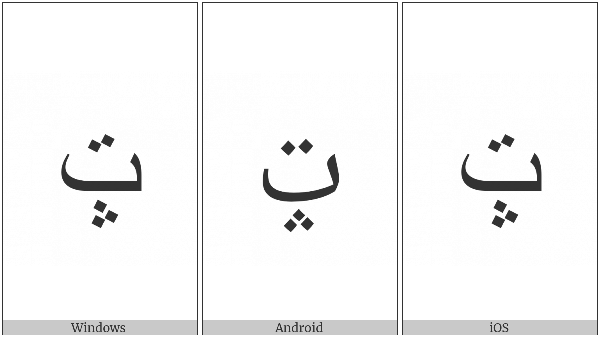 ARABIC LETTER BEH WITH THREE DOTS POINTING UPWARDS BELOW AND TWO DOTS ABOVE utf-8 character