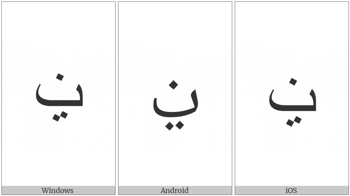 Arabic Letter Beh With Two Dots Below And Dot Above on various operating systems