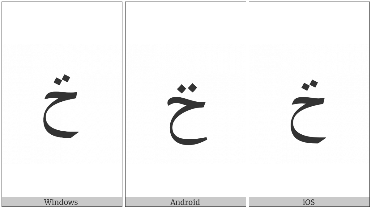 Arabic Letter Hah With Two Dots Above on various operating systems