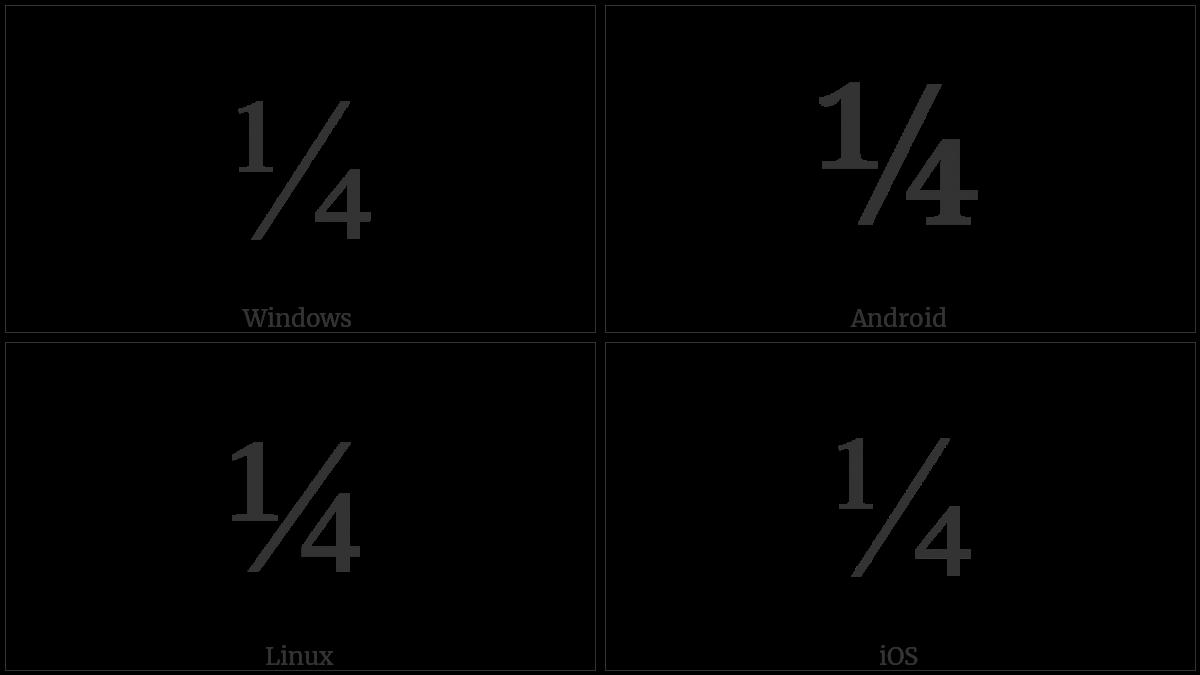 Vulgar Fraction One Quarter on various operating systems