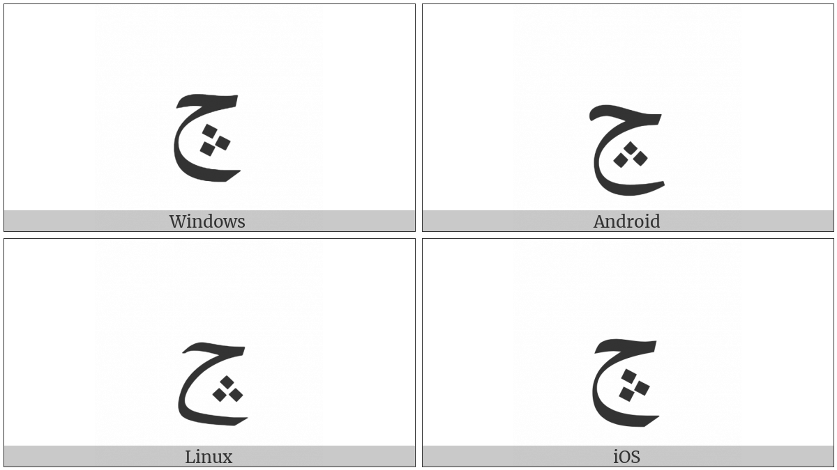 Arabic Letter Hah With Three Dots Pointing Upwards Below on various operating systems