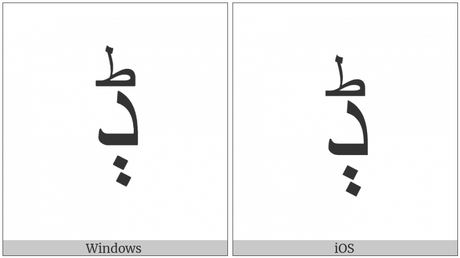 Arabic Letter Dal With Two Dots Vertically Below And Small Tah on various operating systems