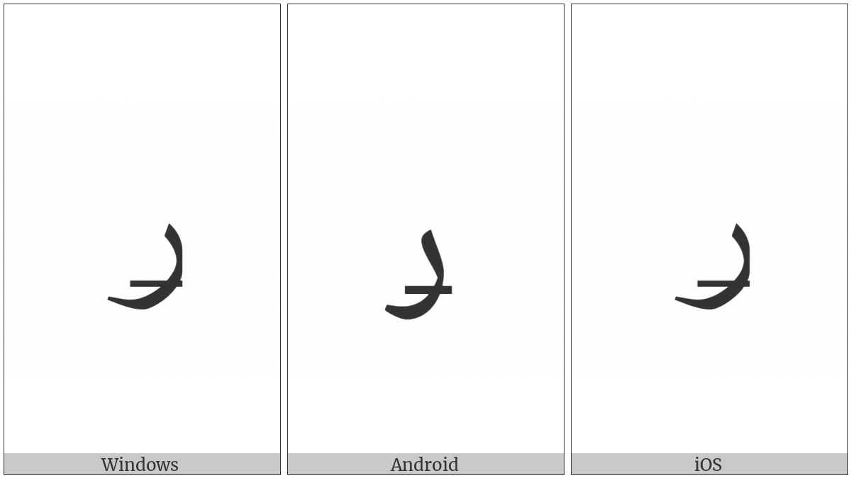 Arabic Letter Reh With Stroke on various operating systems