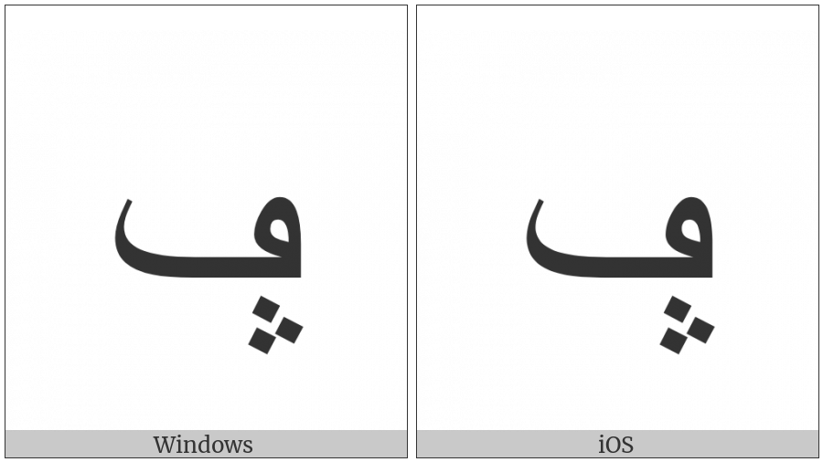 Arabic Letter Feh With Three Dots Pointing Upwards Below on various operating systems