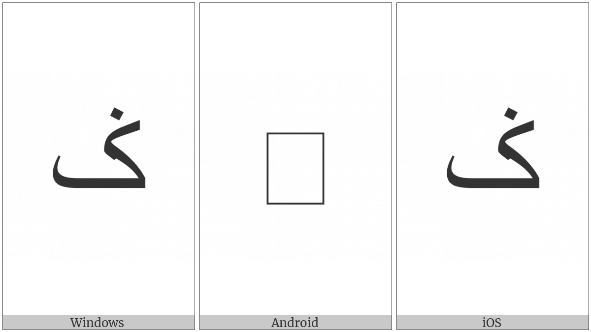 Arabic Letter Keheh With Dot Above on various operating systems