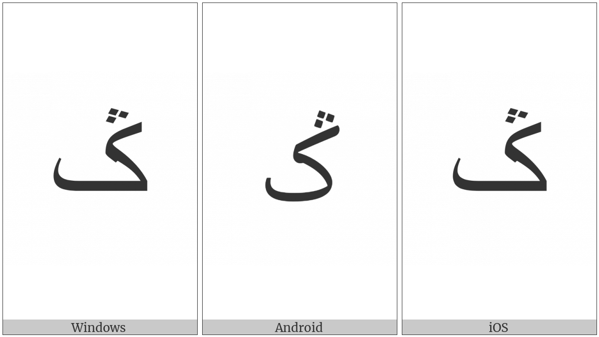 Arabic Letter Keheh With Three Dots Above on various operating systems