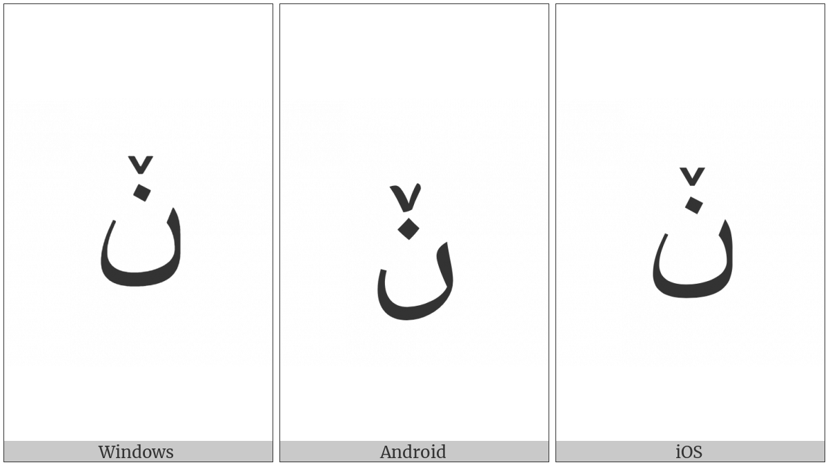 ARABIC LETTER NOON WITH SMALL V utf-8 character