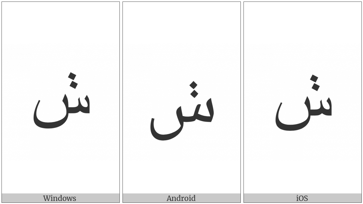 Arabic Letter Seen With Two Dots Vertically Above on various operating systems