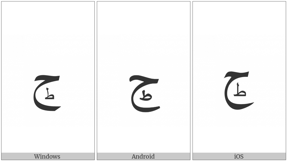 Arabic Letter Hah With Small Arabic Letter Tah Below on various operating systems
