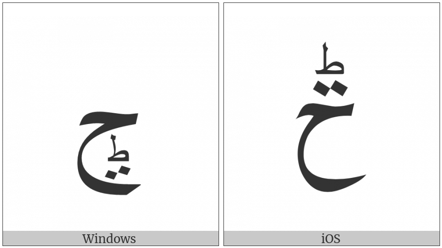 Arabic Letter Hah With Small Arabic Letter Tah And Two Dots on various operating systems