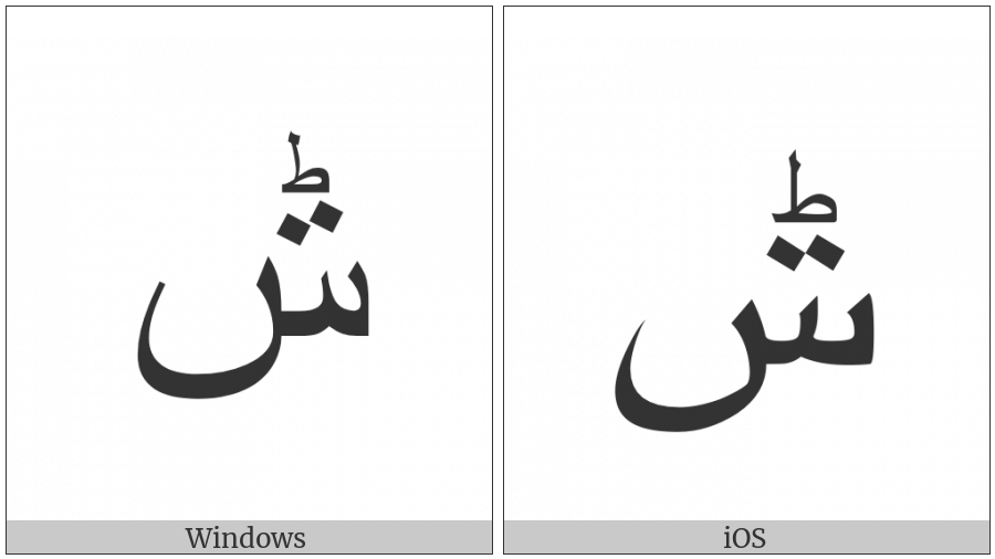 Arabic Letter Seen With Small Arabic Letter Tah And Two Dots on various operating systems