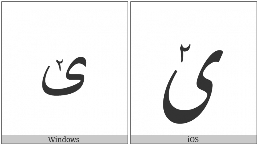 ARABIC LETTER FARSI YEH WITH EXTENDED ARABIC-INDIC DIGIT TWO ABOVE utf-8 character