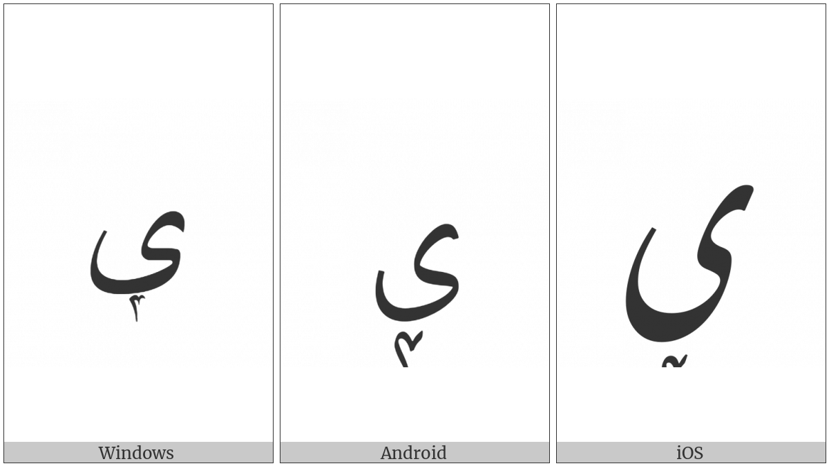 Arabic Letter Farsi Yeh With Extended Arabic-Indic Digit Four Below on various operating systems