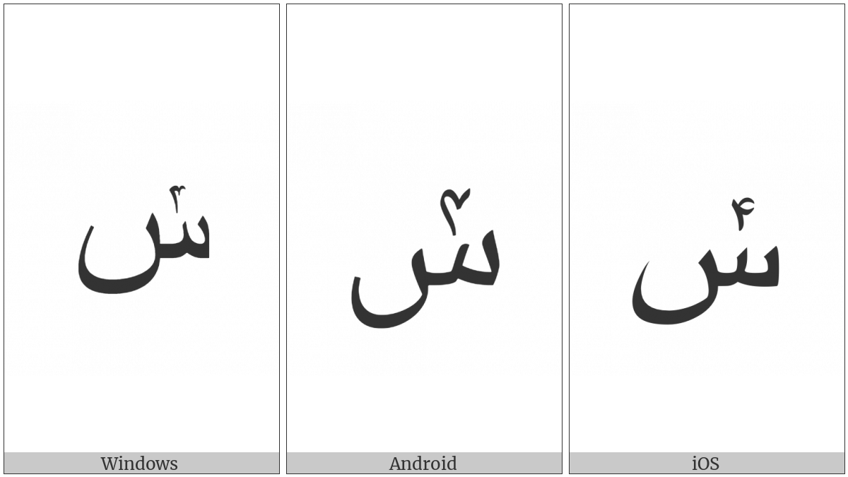 Arabic Letter Seen With Extended Arabic-Indic Digit Four Above on various operating systems