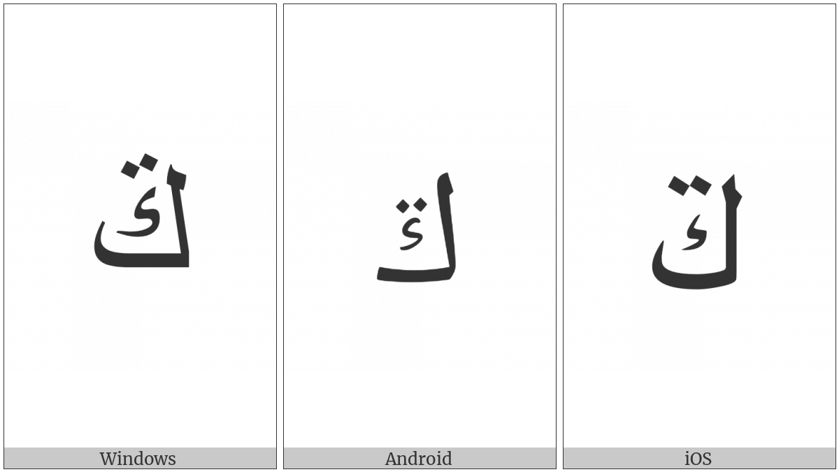Arabic Letter Kaf With Two Dots Above on various operating systems