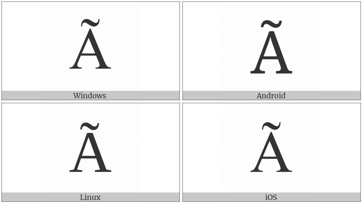 Latin Capital Letter A With Tilde on various operating systems